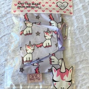 Cloth face mask for kids unicorn with bag